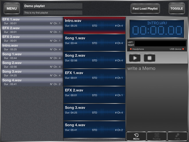 backing track player for iPad