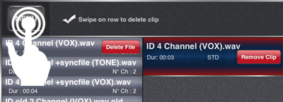 Deleting clips from the clips' list